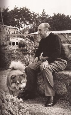 1904 - 1973 Chilean poet - Pablo Neruda and his Chow Chu Tah - ChowTales Pablo Neruda, Eugene Richards, Helen Levitt, Dog Poems, Things About Boyfriends, Boxer Love, Sea Photo, Literature Books, Husband Quotes