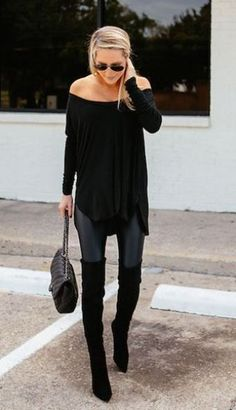 These leather leggings look so cute with the over the knee boots!