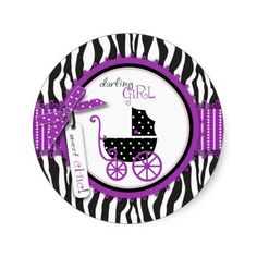 Zebra Print and Baby Carriage Baby Shower Sticker