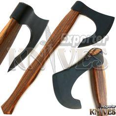 New Custom Handmade Carbon Steel Bearded Felling Forest Axe Rose Wood Handle 463 #KnivesExporter