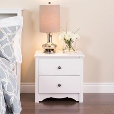 Prepac White Nightstand at Lowe's. With its elegant detailing and practical storage, the Monterey 2 drawer nightstand is more than just a place to keep your bedside lamp. White Nightstand, 2 Drawer Nightstand, Nightstand Ideas, Narrow Nightstand, White Dressers, Tall Nightstands, Bedroom Furniture, Bedroom Decor, Bedroom Ideas