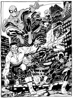 Spider-Man, Captain Britain, Spider-Woman, Luke Cage, Iron Fist and Daredevil by John Byrne