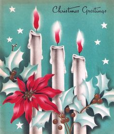Candles Holly Stars Vintage Christmas Card