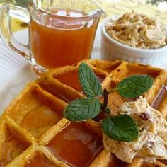 Pumpkin Waffles with Apple Cider Syrup Allrecipes.com