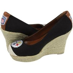 Time to get ready for football season./ Pittsburgh Steelers Ladies The Groupie Espadrille Wedge Sandals - Black