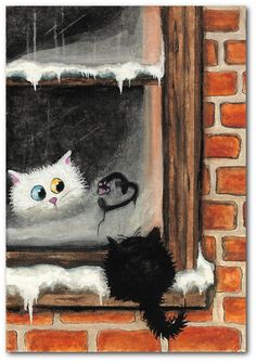 No Words Needed - White Persian Black Stray Cat Heart ArT - 5x7 Print of Original Painting by AmyLyn Bihrle love fuzzy black cat