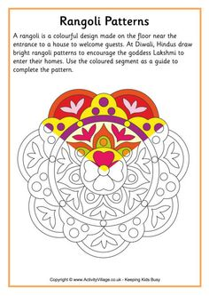 Copy the colours used in the completed segment of this rangoli colouring pattern across the unfinished design. Rangoli fun for Diwali! Diwali Activities, Color Activities, Counseling Activities, Rangoli Patterns, Rangoli Designs, Rangoli Colours, Diwali Craft, Kolam Rangoli, India Art