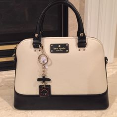 "⚡️FLASH SALE⚡️NWT Kate Spade Satchel Beautiful Two Tone. Boarskin-embossed leather 14.5"" (L) x 10.5"" (H) x 5"" (W) Top handles with 4-1/2"" drop; adjustable detachable strap that can be worn on shoulder or cross-body Zip-around closure with double zipper pulls; flat bottom with protective feet; 14-karat light gold hardware Interior features zip, cellphone and multi-function pockets.  Price firm No Trades key chain sold separately kate spade Bags Satchels"