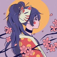 Sakura Nights designed by Mercedes Bazan. Connect with them on Dribbble; the global community for designers and creative professionals. Art Anime, Anime Art Girl, Aesthetic Art, Aesthetic Anime, Illustrator, Posca Art, Samurai Art, Image Manga, Kawaii Art