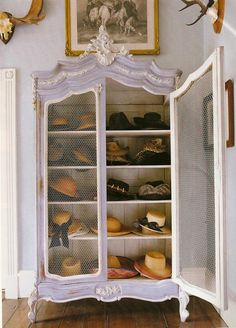 Perfect for shoes and handbags periwinkle armoire. Great re-use for an old armoire if you are willing to add glass doors it will enhance the usability as the adage of out of sight out of mind is valid. French Armoire, Antique Armoire, Hat Organization, Organizing Hats, Hat Display, Display Design, Store Design, Display Ideas, Hat Storage