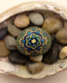 """Mandala Stone """"Eye of The Peacock"""" Gold, Emerald, Blue, Silver, Turquoise Hand Painted Dot Work Design Beach Stone"""