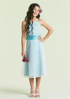 jr bridesmaid Light Blue Dress