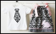 Custom Damask Bunny Brother Sister Tie Tee and by weewhimsycouture, $38.00