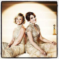 Tina Fey and Amy Poehler at the #GoldenGlobes / #ParksandRec