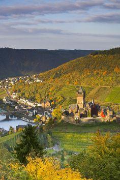 vineyards, Cochem Castle, Cochem, Rhineland / Mosel Valley, Germany. Photo: Jon Arnold Images, Doug Pearson