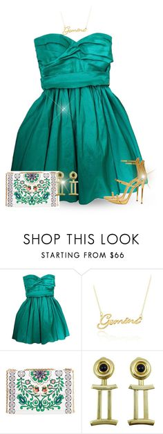 """Gemini Fashion: Emerald & Gold"" by majezy ❤ liked on Polyvore featuring Calvin Klein, Belk & Co., Tory Burch and Giuseppe Zanotti"