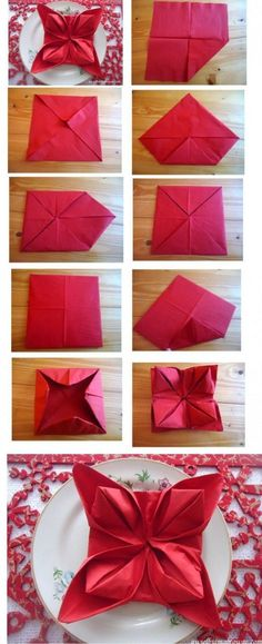 35 Beautiful Examples of Napkin Folding Napkins For Christmas Dinner For People With Too Much Time On Christmas Eve…haha All Things Christmas, Holiday Fun, Christmas Holidays, Christmas Decorations, Xmas, Christmas Tablescapes, Christmas Baking, Christmas Recipes, Table Decorations