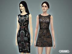 The Sims Resource: Caramel dress set by April • Sims 4 Downloads