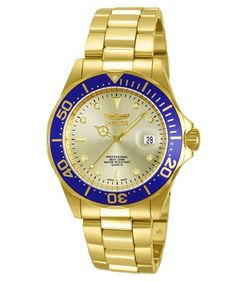 Great sale information Online Invicta Men's 14124 Pro Diver Gold Dial Gold Ion-Plated Stainless Steel Watch Smartwatch, Army Watches, Watches For Men, Wrist Watches, Woman Watches, Gold Watches, Cheap Watches, Stainless Steel Watch, Stainless Steel Bracelet