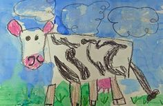 How to Draw a Cow Art Lesson from Deep Space Sparkle (with oil pastels & watercolors) Kindergarten Art Lessons, Art Lessons Elementary, Cow Drawing, Drawing Animals, Drawing Tips, Deep Space Sparkle, Cow Painting, Farm Art, Cow Art