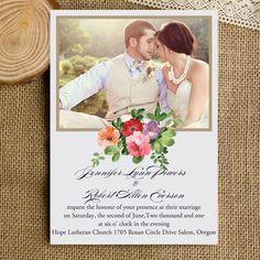 bohemian floral rustic photo wedding invitations