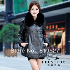 Hot Sale 2014 New Brand 100% Genuine Leather Down Coat Loose Quality Sheepskin Coat Fashion Fox Fur Collar Warm Leather Overcoat