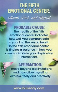 The Fifth Emotional Center in Louise Hay and Mona Lisa Schulz's book, All Is Well, focuses on the mouth, neck, and thyroid. #affirmation