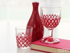 DIY: Upcycle vintage cut glass with red paint.