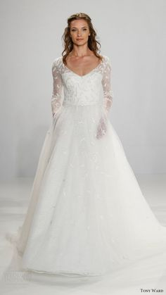 Wedding Gowns 2017 Illusion   tony ward bridal 2017 illusion long sleeves vneck aline wedding dress ...