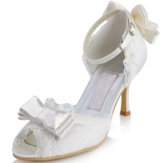 c48e0c7016b The new real shot White Satin Open Toe Pumps shoes professional shoes in  Europe and America pearl ivory wedding shoes bridal shoes - Taobao