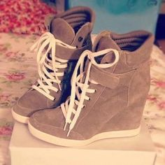 Brown sneaker wedges