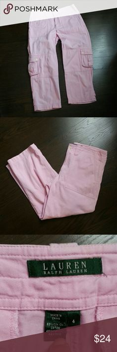 "Lauren Ralph Lauren Pale Pink Cropped Cargo Pants Gorgeous soft pink Ralph Lauren cargo cropped pants. Excellent pre-loved condition. Very girlie!!! Inseam 25.5"". Waist when flat is 15"" across (W 30""). Tag shows size 4. Purchased and have to re-posh because they don't fit my in-between size. My loss is your gain. Lauren Ralph Lauren Pants Ankle & Cropped"