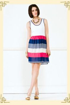 Bold pink & blue chiffon stripes stack up below a soft white jersey bodice.