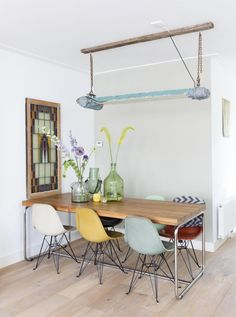 my scandinavian home: Spring is in the air in this lovely Dutch home Dining Room Design, Dining Room Table, Dining Area, Amsterdam Apartment, Deco Luminaire, Apartment Renovation, Dining Room Inspiration, Scandinavian Home, Home And Living