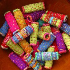 Dupioni Silk Quilted Fabric Beads by Victoria Gertenbach
