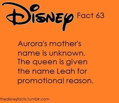 Sleeping Beauty was always my favorite Disney princess and my name is Leah! This might make it mandatory for me to name my daughter Aurora if I ever decide to have a child. Disney Love, Disney Magic, Disney Pixar, Walt Disney, Disney Stuff, Disneyland Secrets, Disney Secrets, Disney Fun Facts, Disney Trivia