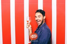 Red stripe backdrop | The Photo Booth Guys