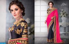 UK 6752 Bollywood Designer Saree Embroidery Sari Bridal Ethnic