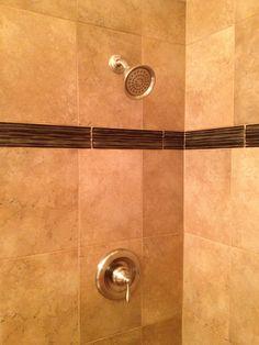 Waterproofed Tile Shower Installation Sun City Center, Florida (10x13  Porcelain Tile U0026 3x13 Glass