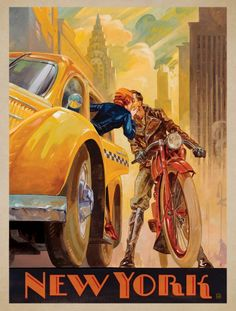 Vintage photo, New York Minute - This series of romantic travel art is made from original oil paintings by artist Kai Carpenter. Styled in an Art Deco flair, this adventurous scene is sure to bring a smile and a smooch to any classic poster art lover! Old Posters, Art Deco Posters, Illustrations And Posters, Vintage Illustrations, Movie Posters, Art Vintage, Photo Vintage, Vintage Ads, Vintage Paintings