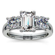 Emerald Trellis Three Diamond Engagement Ring in Platinum http://www.brilliance.com/engagement-rings/trellis-three-diamond-ring-platinum-1-ctw
