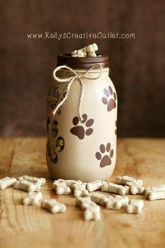 Your place to buy and sell all things handmade - Dog Treats Jar Pet Decor Dog Gift Mason Jar Pot Mason, Mason Jar Gifts, Mason Jar Diy, Crafts With Glass Jars, Happy Jar, Dog Treat Jar, Mason Jar Projects, Jar Art, Dog Crafts
