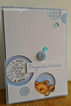 Crafted by Jules: CAS(E) this baby card Awww so cute .. Love those little bear trying to get out of the hole. so cute.