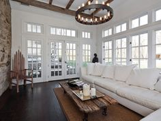 Longwood: An Old Stone House For Sale in Bucks County - Hooked on Houses Sunroom Addition, Old Stone Houses, Old School House, My Dream Home, Dream Homes, Home And Living, Cozy Living, Great Rooms, Living Spaces