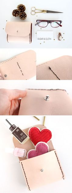 DIY : Leather Pouch by @Ashley Rose / Sugar & Cloth