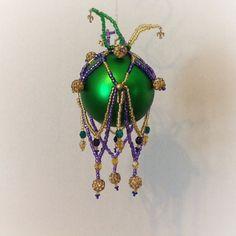 Beaded Christmas or Mardi Gras ornament by ElegantPerle on Etsy