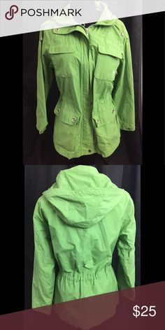 Great  jacket by Larry Levine Sport in size small Fun light weight jacket by Larry Levine Sport in size small. 4 pockets in the front and 1 inside. 60% cotton and 40% nylon. Is completely lined. Closes with zipper and push buttons. Hoody has a drawstring. Excellent condition. Larry Levine Jackets & Coats