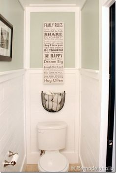 TP basket and wainscoting.