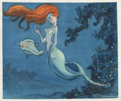 © All rights reserved Disney Enterprises, Inc. 2010 United States  Glen Keane The Little Mermaid, 1989 Ariel and Flounder Concept art: gouache and black line (xerographic copy) on paper Walt Disney Animation Research Library Collection