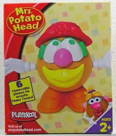 Mini Mrs Potato Head Red Hat Figure (076930232101) Mini Mrs Potato Head Red Hat The wacky, mixed up looks for MRS. POTATO HEAD characters that you create will keep you busy-and giggling-for hours! Includes 6 removable pieces to create funny faces! For Ages 2+